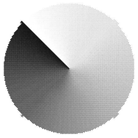 Circular pre-loader, buffer, progress indicator or radar shape with half-tone effect on a conical gradient