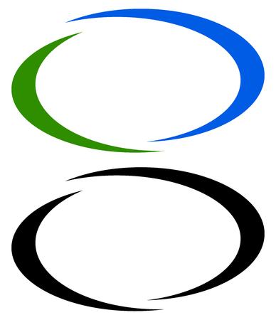 Cadres de bannière ovale, ellipse, bordures. Versions bicolore et noire incluses