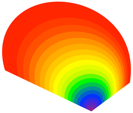 Radial form with the visible light colors. Rainbow, RGB colored circular, concentric abstract element. Heatmap
