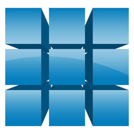 Divided cube icon with glossy effect