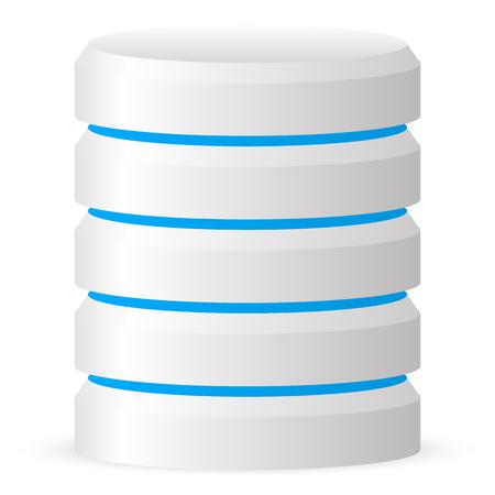 Cilindro 3d. Centro de datos, alojamiento web, icono de disco duro
