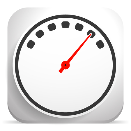 Gauge, meter icon with red needle set at high level