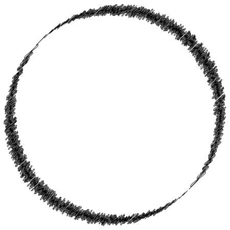Scribble sketch circle. Sketchy circular shape