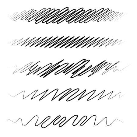 Squiggle  squiggly wavy line stripe set of 5 Çizim