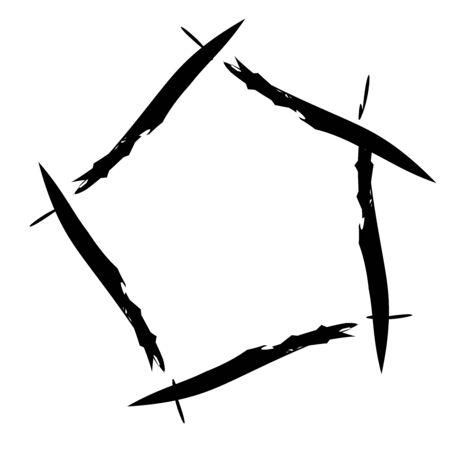 Grunge, grungy geometric circle element, Edgy, roughy borders