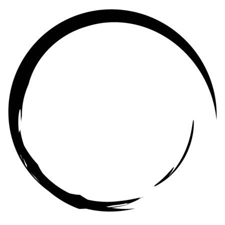 Circular grungy grunge circle frame / Splatter, splash effect isolated on white Illustration