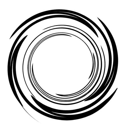 Sketchy / sketch circular circles. Spirally, swirly effect on circle design element Illustration
