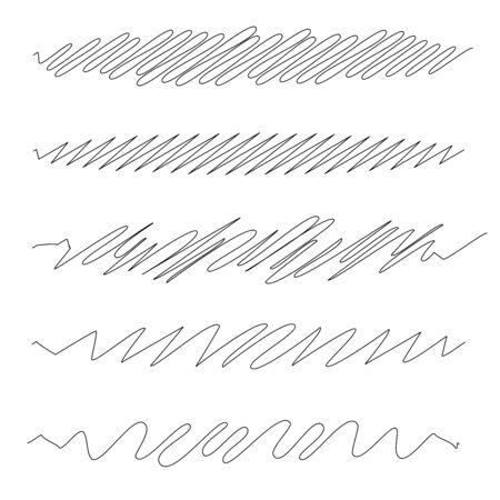 Squiggle  squiggly wavy line stripe set of 5 Illustration