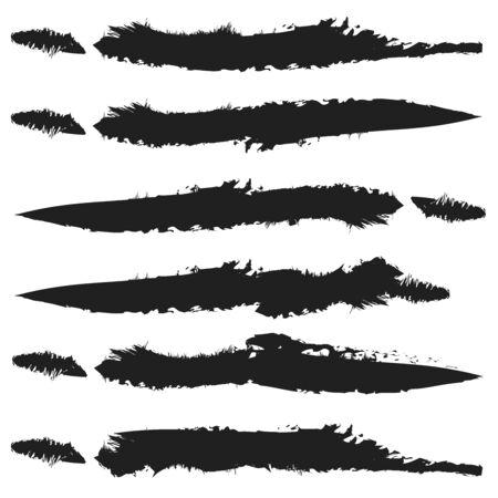 Unique grungy / textured horizontal design element. Set of various versions Vector Illustration