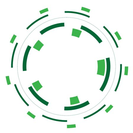 Green version - Random circles with dashed lines, Randomness, circular concept