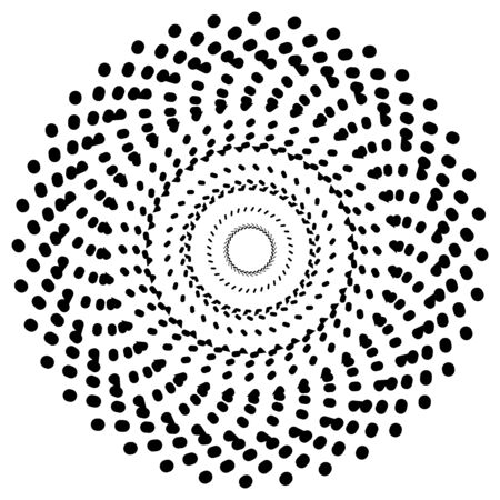 Radiating radial circle design element. Dashed circles Illustration