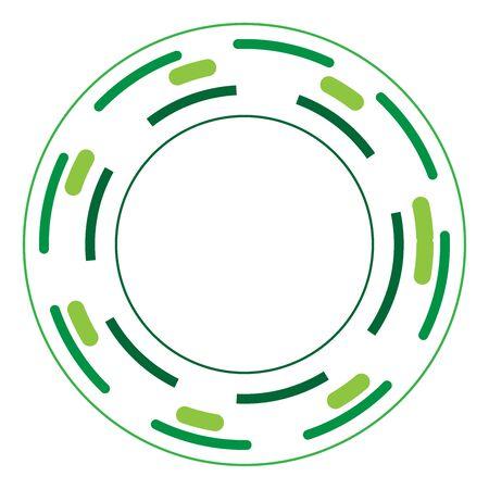 Version verte - Cercles aléatoires avec des lignes pointillées, Randomness, concept circulaire Vecteurs