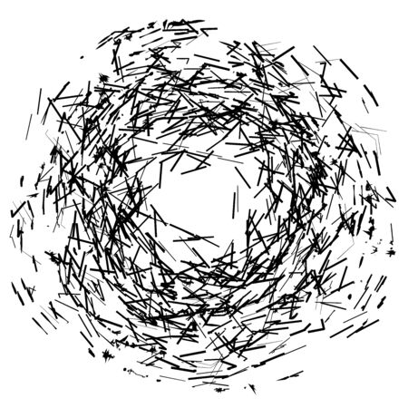 Artistic circular element  circle abstract shape with shattered pieces. Abstract art element Ilustracja