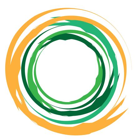 Concentric / grungy circular circle element. Radial, radiating textured / circular, circle shape
