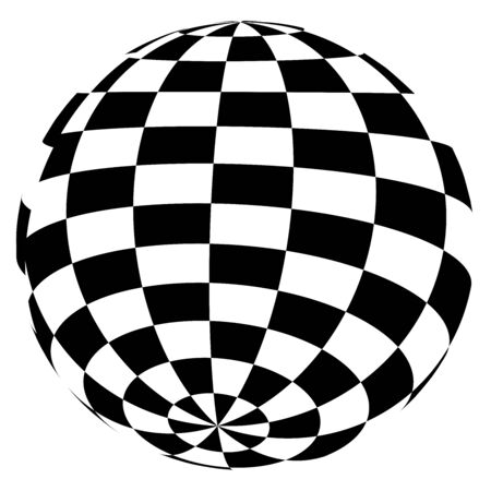 Sphere, 3d circle shape. Abstract ball, globe, orb design. Spherical, orbicular bulb with texture. Bulge, protrude warp effect pattern Standard-Bild - 129165869