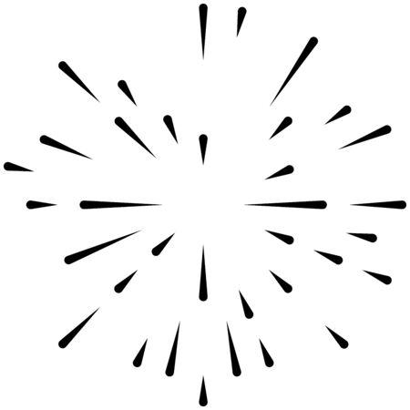 Raggio radiale, linee di fascio. Motivo a strisce di radiazioni circolari. Bagliore, effetto scintillante. Smalto, bagliore, design aurora. Sunburst, linee concentriche starburst come scintillio, splendore, illustrazione glitterata. Brillantezza, brillantezza, effetto luccicante