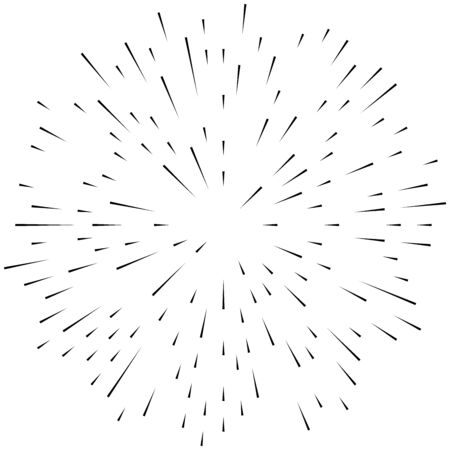 Radial ray, beam lines. Circular radiation stripes pattern. Gleam, sparkle effect. Glaze, flare, aurora design. Sunburst, starburst concentric lines as twinkle, radiance, glitter illustration. Shimmer, brilliance, glisten effect Vector Illustration