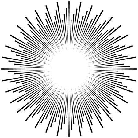Radial ray, beam lines. Circular radiation stripes pattern. Gleam, sparkle effect. Glaze, flare, aurora design. Sunburst, starburst concentric lines as twinkle, radiance, glitter illustration. Shimmer, brilliance, glisten effect Vecteurs