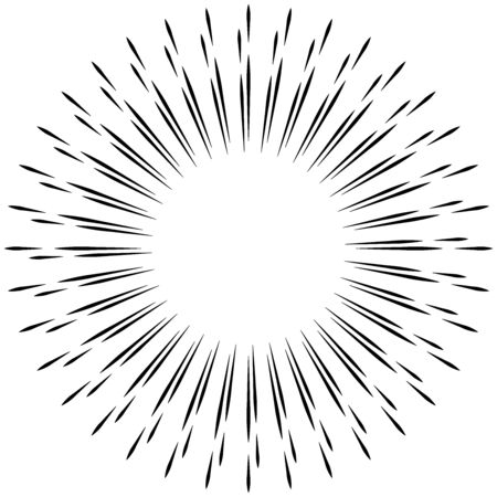 Rayon radial, lignes de faisceau. Motif de rayures de rayonnement circulaire. Lueur, effet scintillant. Glaçure, flare, conception d'aurore. Sunburst, lignes concentriques en étoile comme scintillement, éclat, illustration de paillettes. Effet scintillant, brillant, scintillant