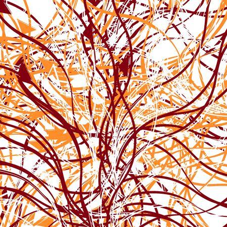 Linee casuali, forme geometriche arte astratta. Illustrazione artistica di disegno sparso colorato (due tonalità). Rumore irregolare, disordine, illustrazione glitch. Arte geometrica casuale caotica Vettoriali