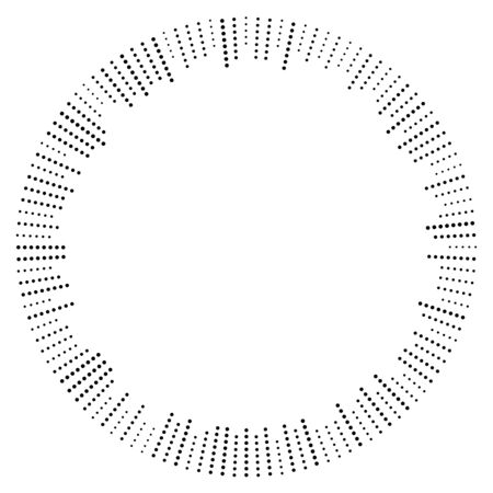 Dots radial burst lines. Irregular lines, half-tone beams, rays. Radiating, converging trail lines. Circular array of dotted lines