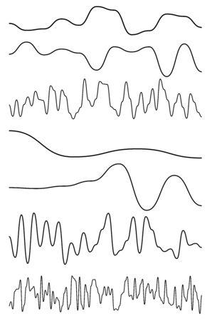 Wavy, billow (zigzag) line element set. Lines with waving effect Çizim