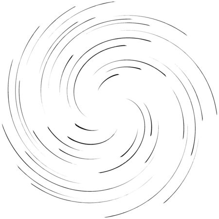 Detailed twirl, spiral element. Whirlpool, whirligig effect. Circular, rotating burst lines. Whirl radial design. Coil, twirl abstract shape