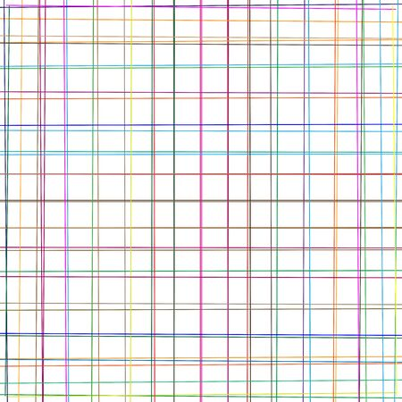 Colorful crosshatch, scribble sketch lines. Random multicolor grid, mesh. Intersect stripes. Asymmetric pattern of irregular, crossing dynamic lines