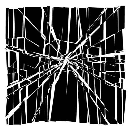 Facture, crack element. Shatter, broken surface texture. Grungy design. Decay, burst splinters illustration Illustration