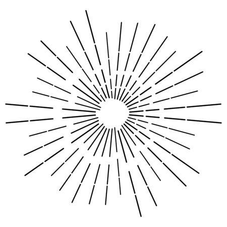 Radial, radiating beams, rays starburst, sunburst lines. Circular burst, firework, blast or explosion effect. Concentric, converging array sparkle effect. Irregular, dashed stripes