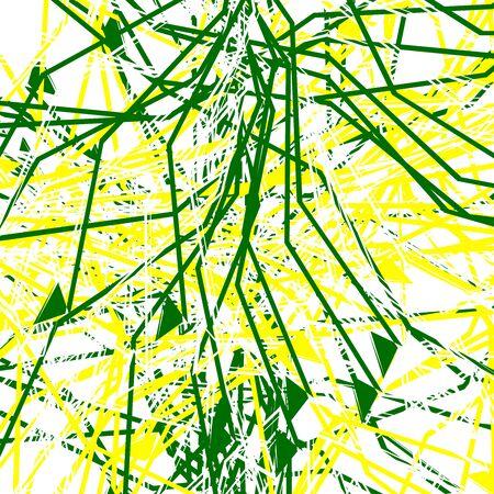 Linee casuali, forme geometriche arte astratta. Illustrazione artistica di disegno sparso colorato (due tonalità). Rumore irregolare, disordine, illustrazione glitch. Arte geometrica casuale caotica
