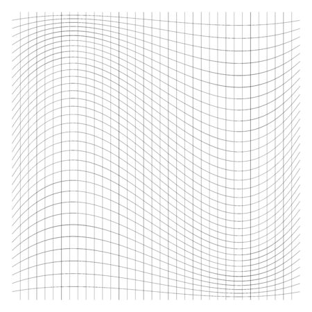 Wavy, waving grid, mesh of thin lines. Squeeze, stretch distort effect. Camber, crook deformation illustration. Distort array of intersect lines. Undulate, billowy warp effect