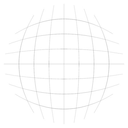 Orb, sphere with squares line mesh, grid. Circular, concentric element. Ball, globe with convex protrusion, bump distort effect. Globular, spherical deform design
