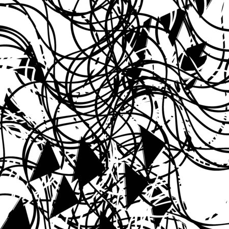Abstract art with deformation, distortion effect on random lines. Chaotic texture. Distress mix of lines. Complex geometric glitch, noise pattern with irregular shapes. Cluttered design