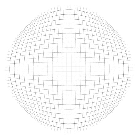 Wireframe sphere, globe. Orb, circle with mesh, grid lines. Concentric, circular geometric element. Convex protrude, bulge distort design. Spherical, globular abstract geometric element