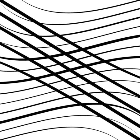 Waving, wavy lines pattern. Billowy, undulating tangle lines grid,mesh. Interlace undulating stripes. Squiggle, squiggly, wobbly interlock, intersecting strips, streaks. Abstract background, texture Ilustração