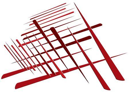 Grid, mesh with dynamic lines. Intersecting stripes. Irregular grating, lattice texture. Interlocking, criss-cross abstract geometric illustration Banco de Imagens - 130044101