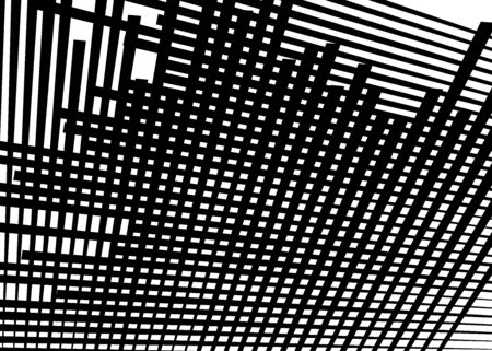 Grid, mesh with dynamic lines. Intersecting stripes. Irregular grating, lattice texture. Interlocking, criss-cross abstract geometric illustration Ilustração