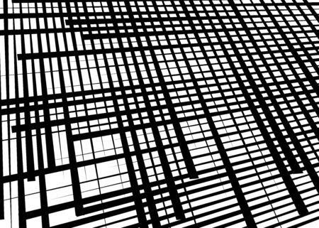 Grid, mesh with dynamic lines. Intersecting stripes. Irregular grating, lattice texture. Interlocking, criss-cross abstract geometric illustration Banco de Imagens - 130044152