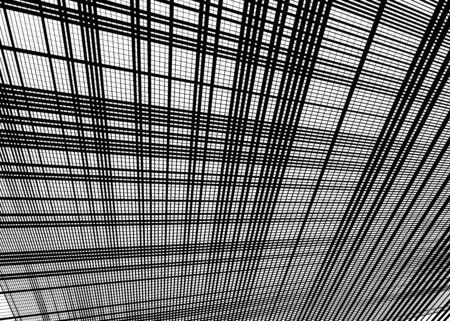 Grid, mesh with dynamic lines. Intersecting stripes. Irregular grating, lattice texture. Interlocking, criss-cross abstract geometric illustration Banco de Imagens - 130044154