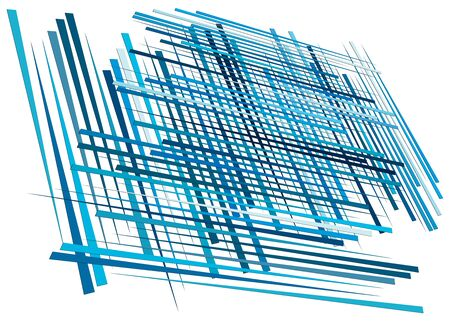 Grid, mesh with dynamic lines. Intersecting stripes. Irregular grating, lattice texture. Interlocking, criss-cross abstract geometric illustration Banco de Imagens - 130044213