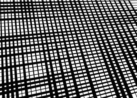 Grid, mesh with dynamic lines. Intersecting stripes. Irregular grating, lattice texture. Interlocking, criss-cross abstract geometric illustration Banco de Imagens - 130044250