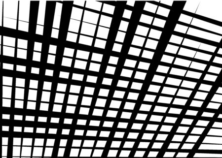 Grid, mesh with dynamic lines. Intersecting stripes. Irregular grating, lattice texture. Interlocking, criss-cross abstract geometric illustration Banco de Imagens - 130044286