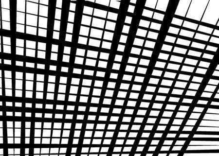 Grid, mesh with dynamic lines. Intersecting stripes. Irregular grating, lattice texture. Interlocking, criss-cross abstract geometric illustration Banco de Imagens - 130044326