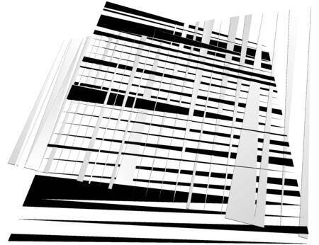 Grid, mesh with dynamic lines. Intersecting stripes. Irregular grating, lattice texture. Interlocking, criss-cross abstract geometric illustration Ilustração