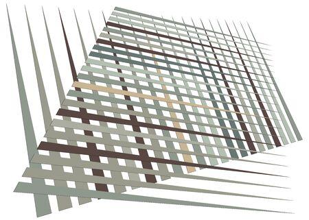 Grid, mesh with dynamic lines. Intersecting stripes. Irregular grating, lattice texture. Interlocking, criss-cross abstract geometric illustration Banco de Imagens - 130044453