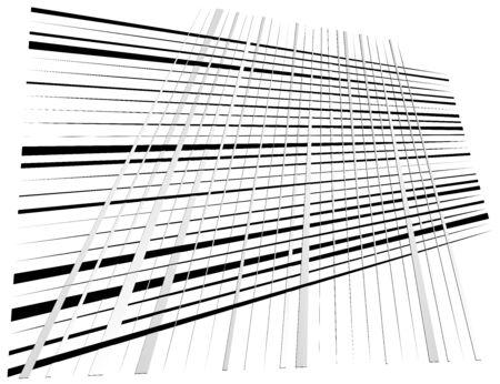 Grid, mesh with dynamic lines. Intersecting stripes. Irregular grating, lattice texture. Interlocking, criss-cross abstract geometric illustration Banco de Imagens - 130044465