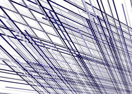 Grid, mesh with dynamic lines. Intersecting stripes. Irregular grating, lattice texture. Interlocking, criss-cross abstract geometric illustration Illustration