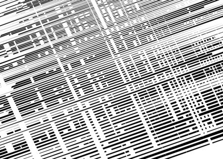Grid, mesh with intermittent, dashed lines. Intersecting dynamic stripes. Irregular grating, lattice texture. Interlocking, criss-cross abstract geometric illustration Çizim