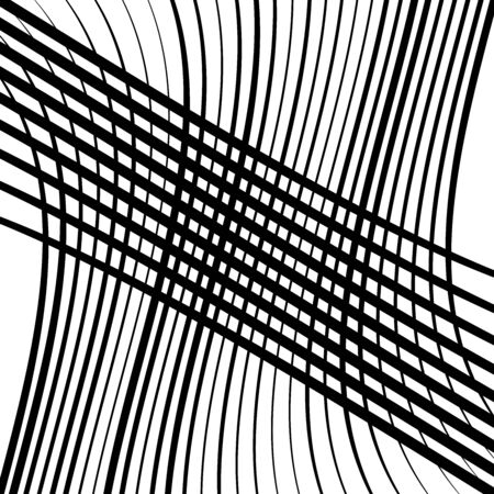 Waving, wavy lines pattern. Billowy, undulating tangle lines grid,mesh. Interlace undulating stripes. Squiggle, squiggly, wobbly interlock, intersecting strips, streaks. Abstract background, texture Иллюстрация